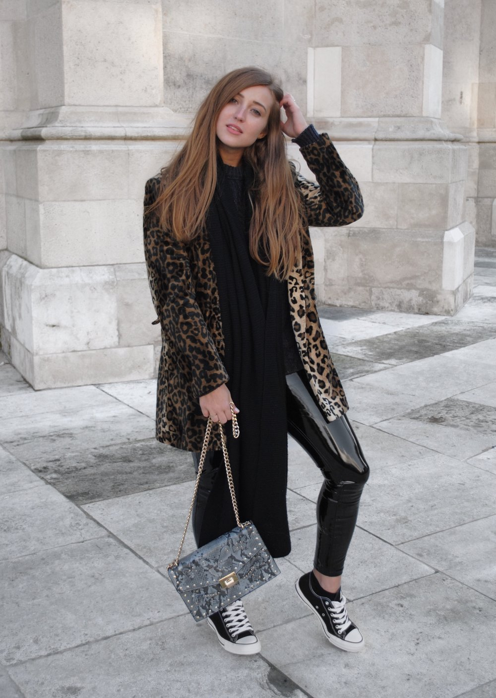 Outfit leopard print coat converse faux leather pants