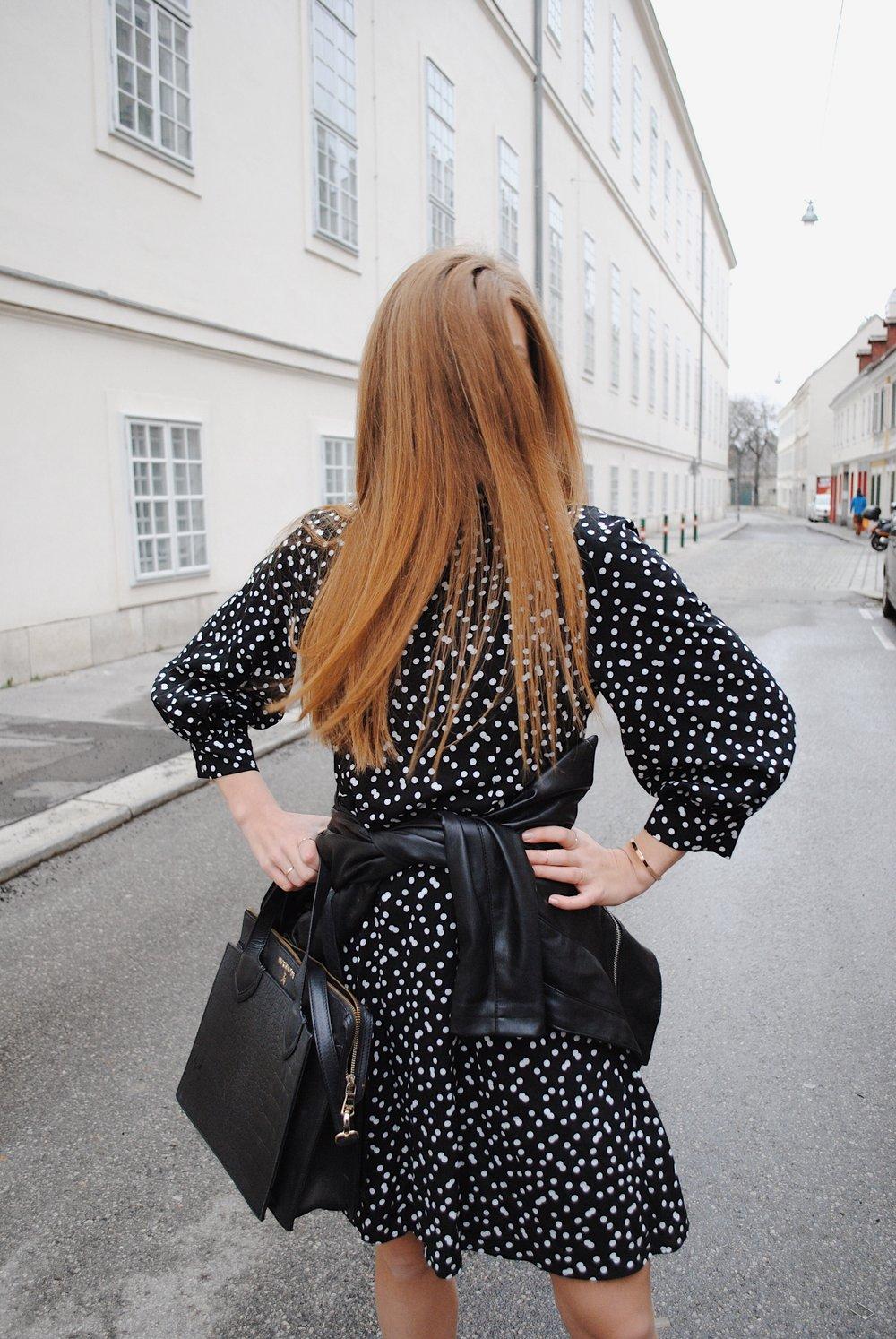 polka dot dress faux leather jacket