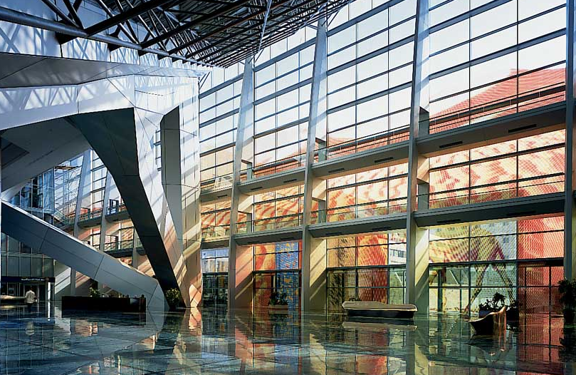 2004 al faisaliah hotel lobby , norman foster architects, showing location of four commissioned ocean series bronze works. -