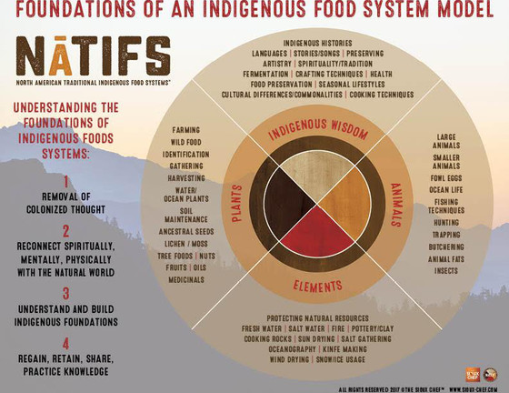 """North American Traditional Indigenous Food Systems (NATIFS), a  non-profit  created by  The Sioux Chef , helps tribal communities develop """"regionally and culturally appropriate trial food businesses."""" NATIFS has created this indigenous food systems model which shows how native peoples choose to define their own food and food systems."""