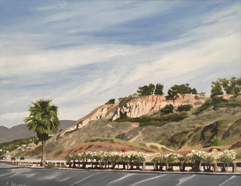 "PCH Cliffs, Water Soluble Oil Paint, 15.5"" x 19.5"""