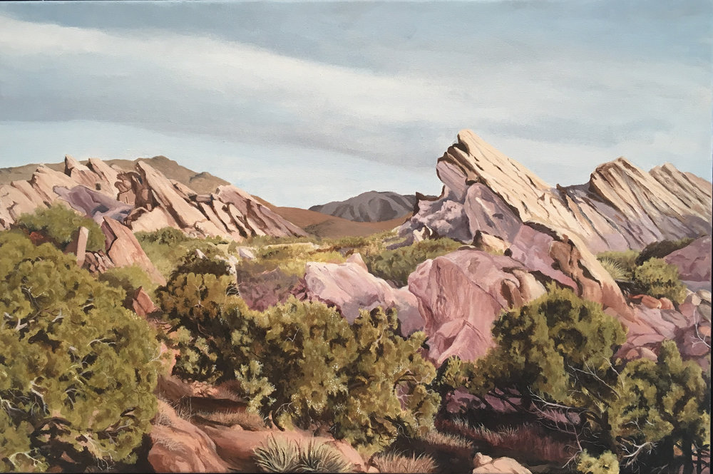 "Vasquez Rocks, Water Soluble Oil Paint, 21.5"" x 31.5"""