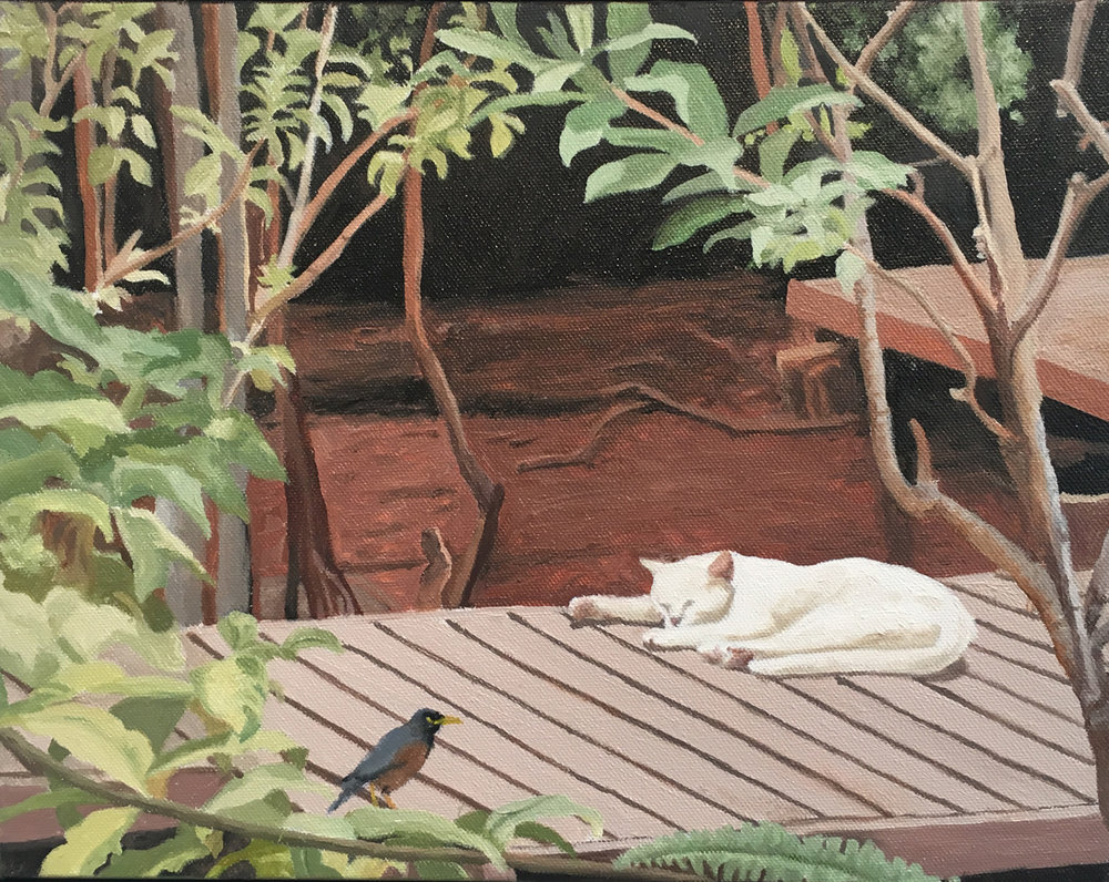 "Tahitian Cat Nap, Water Soluble Oil Paint, 12.5"" x 15.5"""