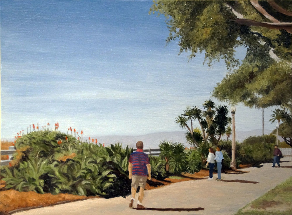 "Palisades Park Walkers, Water Soluble Oil Paint, 13.5"" x 17.5"""