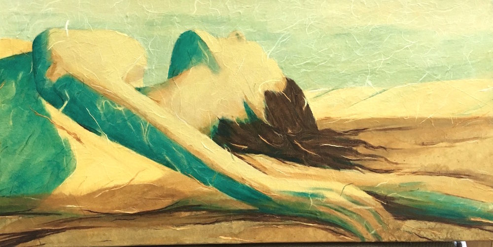 "Bask, Acrylic & Paper on Canvas, 12"" x 24"""