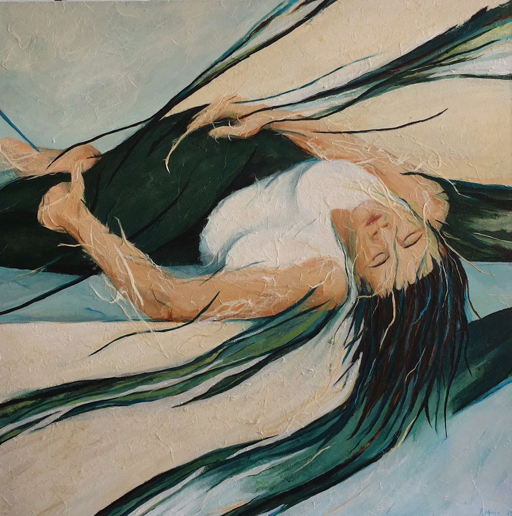 "Entangled, Acrylic & Paper on Canvas, 36"" x 36"""