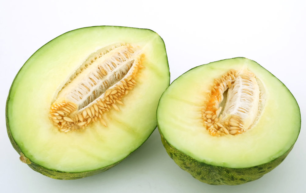 Santa Claus melon cut in half