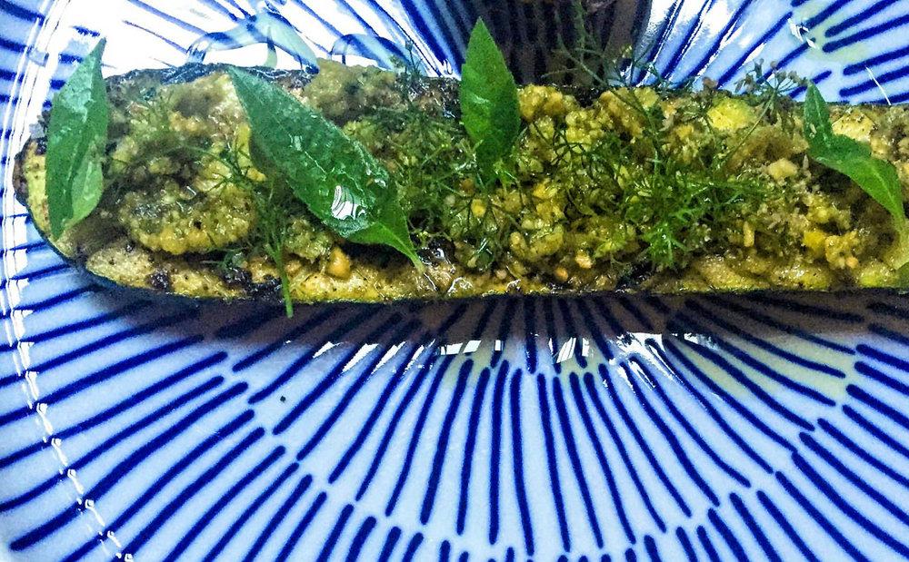 Cashew and lemon pesto on vegetables or bread