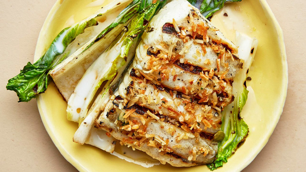 GRILLED HALIBUT AND BOK CHOY WITH COCONUT-LIME DRESSING