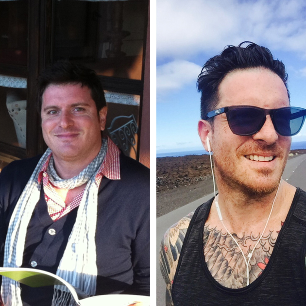 Seamus Mullen before and after his journey to wellness
