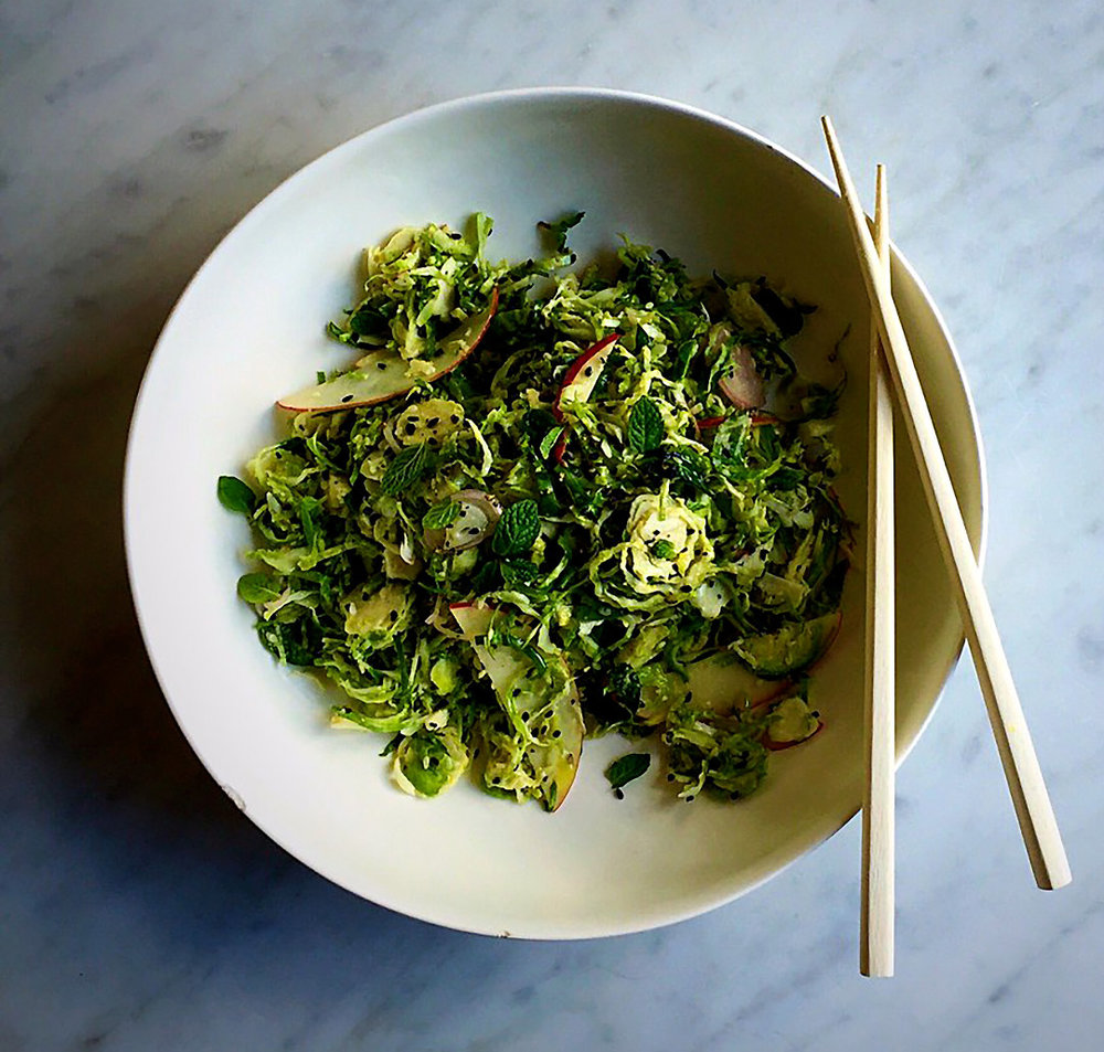 Brussels Sprout Salad with Shaved Apple, Shallot and Radish  recipe