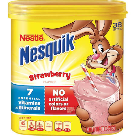 strawberry flavored nesquik beverage