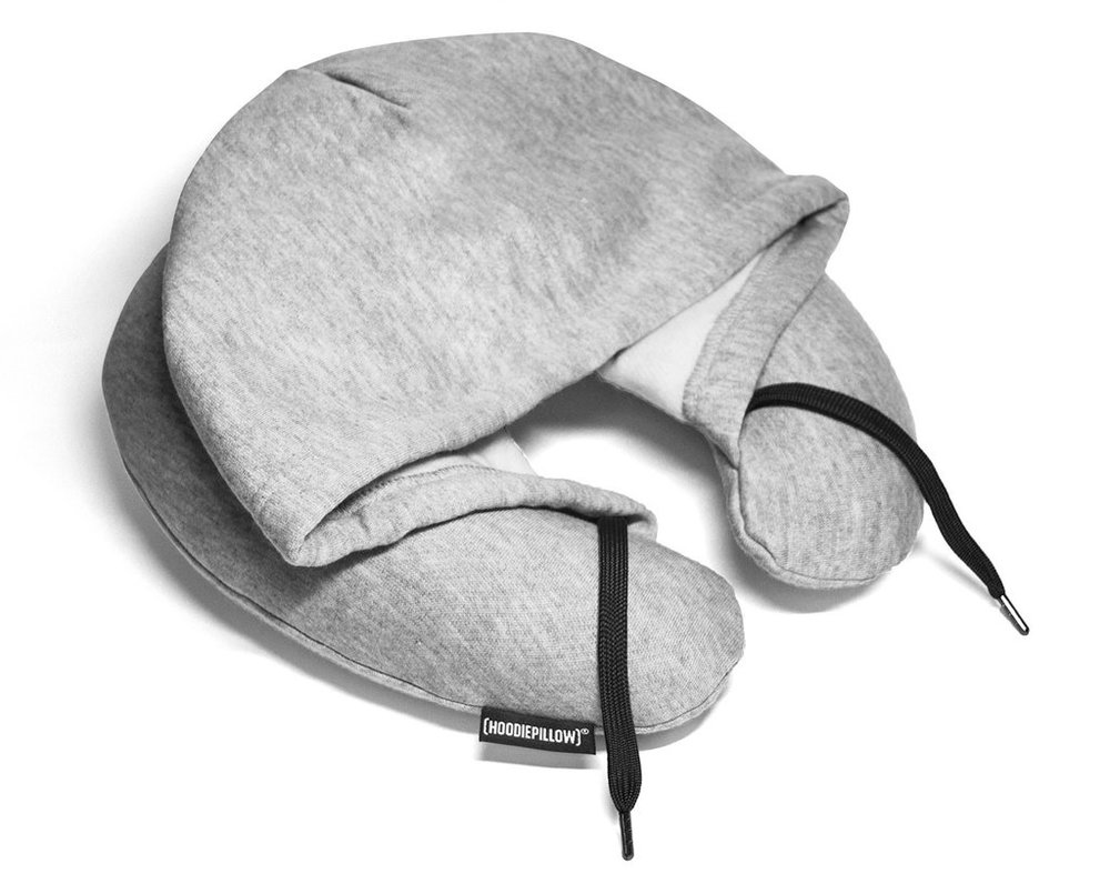 Hoodie Pillow Gone are the days of airplane pillows being dropped and forgotten in the airport terminal. With a hoodie pillow($25), your path to sound sleeping on the plane is secure.