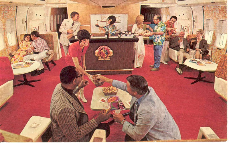 Continental Airlines Coach Lounge, circa 1970