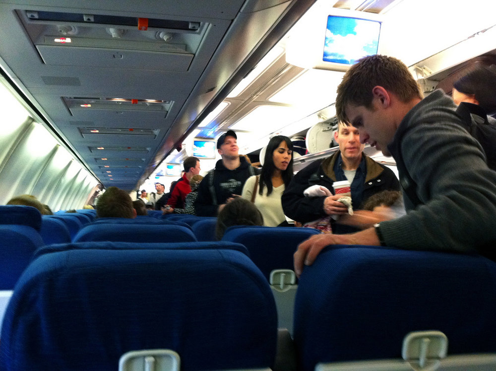 Airplane seat size shrinking