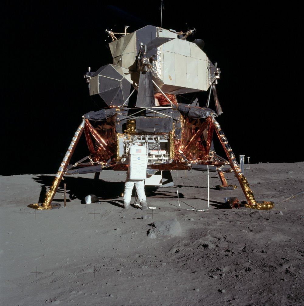 A view of a Lunar Module on the moon.