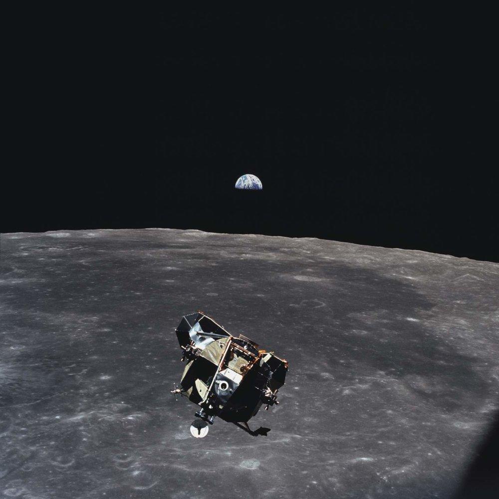 A Lunar Module in space.