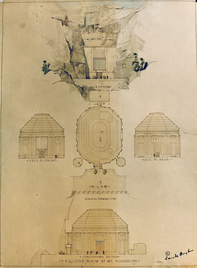 A sketch of the orginal plans for the Hall of Records