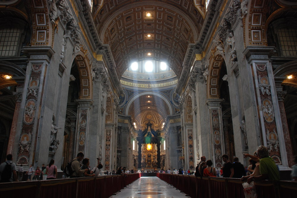 Inside Peter's Basilica  (photo by MarcusObal via Wikimedia)