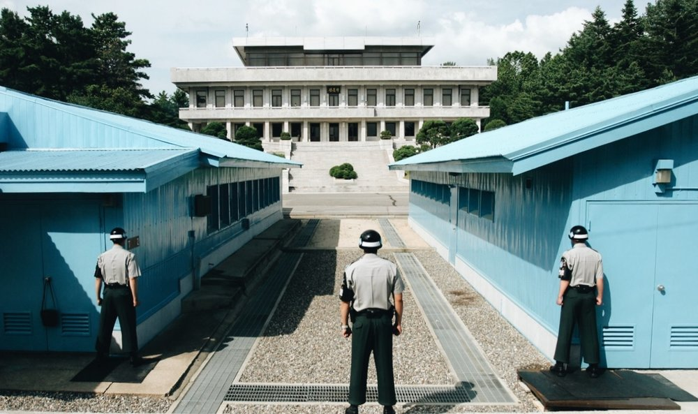 South Korean soldiers stand guard at the DMZ