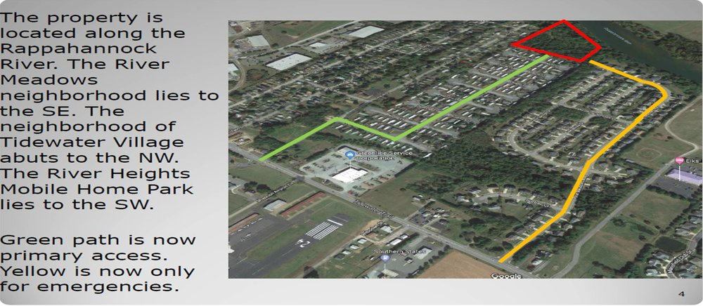 Slide from Planning staff presentation showing the change in access to Franklin Crossing's project