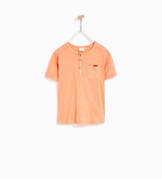 9. Zara Boys Button Neck T-Shirt