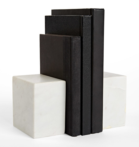Rejuvenation White Marble Bookends $79