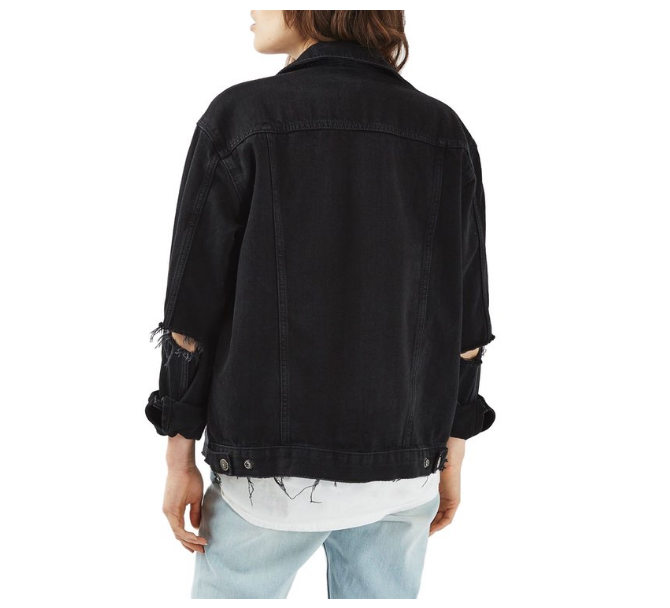 Nordstrom Top Shop ripped elbow denim jacket.