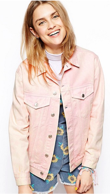 Asos US- Denim jacket (pink mottled wash)