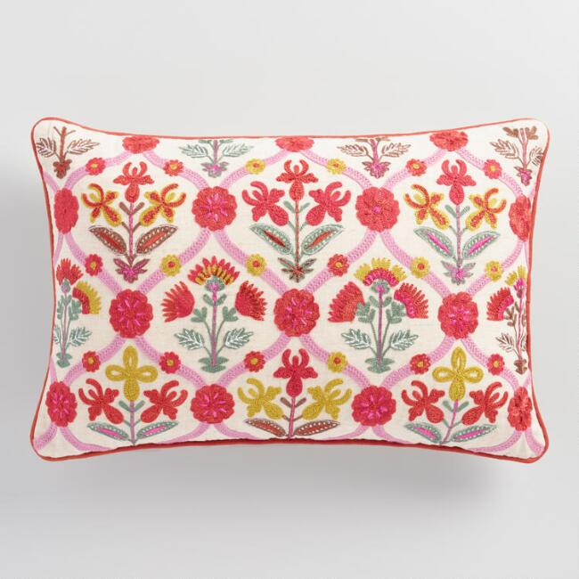 World Market-Pink Floral Embroidered Lumbar Pillow $29.99