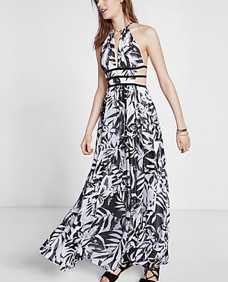 Express Tropical Print Cut Out Maxi Dress