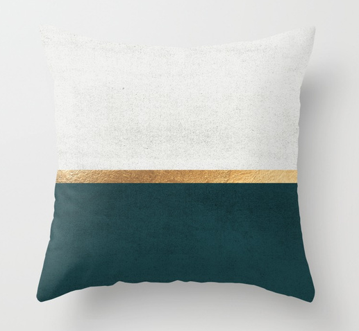 Society 6- Deep Green, Gold and White Color Block $17.60