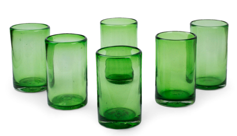 Novica- Emerald Green Artisan Crafted Handblown Glass Recycled Cocktail Glasses $48.99