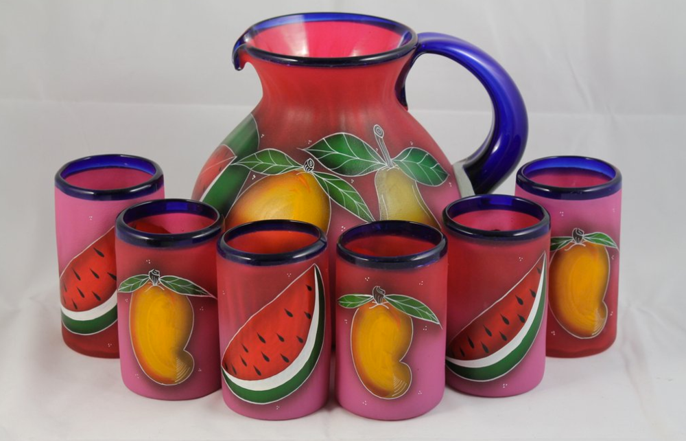 Wandering Gypsy- Mexican Pitcher set of 6 Glasses Hand Blown/Painted Fruit Glassware $89.99