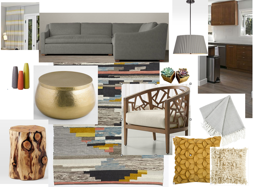 "Sofa: Restoration Hardware Belgian Slope Arm  Coffee Table: World Market Gold Cala Hammered Coffee Table $299.99  Area Rug: West Elm Multi Pixel Woven Rug $1049  End Table: West Elm Natural Tree Stump Side Table $249  Side Chair: Crate & Barrel Ankara Grey Wash Frame $799  Dining room Pendant: Rejuvenation Barton 24"" Pleated Drum Pendant $499  Vases, Throw Pillows and Blanket: Joss & Main"