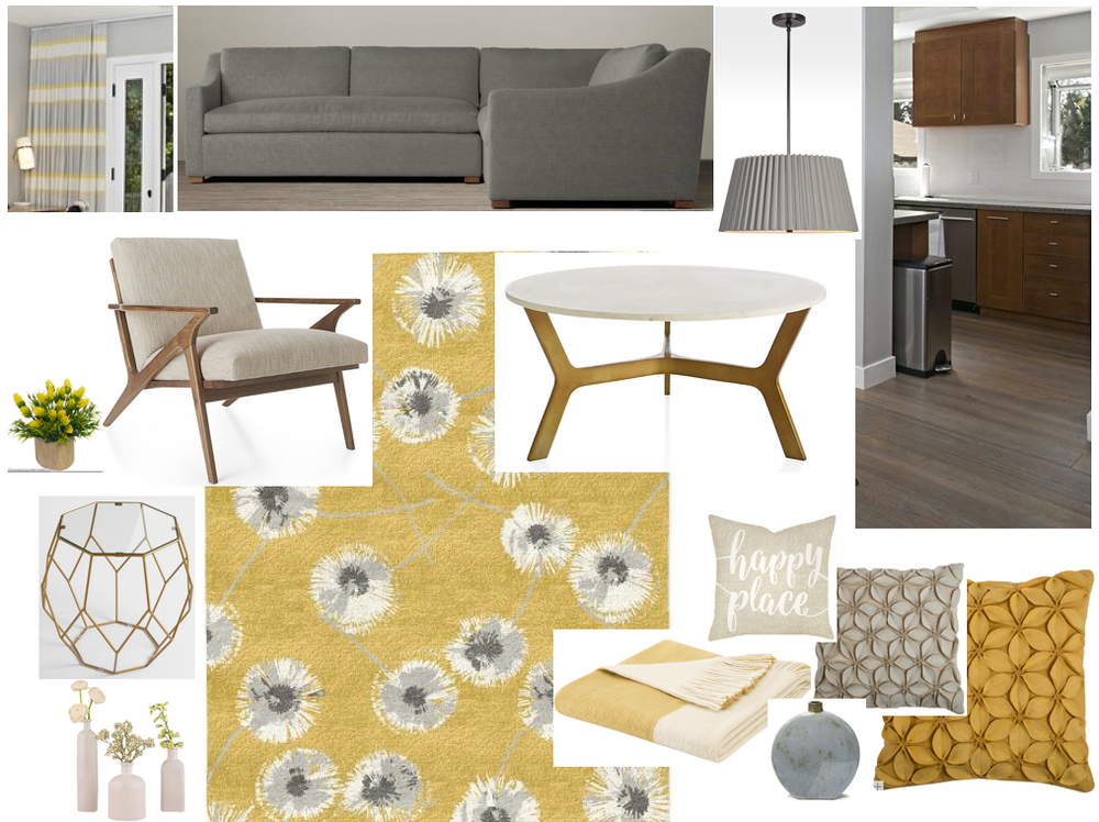 """Coffee Table: Crate & Barrel Elke Round Marble Coffee Table $999  Side Table: World Market Antique Gold Faceted Accent Table With Glass Top $159.99  Area Rug: West Elm Dandelion Rug in Horseradish $1399  Side Chair: Crate & Barrel Cavett Chair $1099  Dining room Pendant: Rejuvenation Barton 24"""" Pleated Drum Pendant $499  Vases, Throw Pillows and Blanket: Joss & Main"""