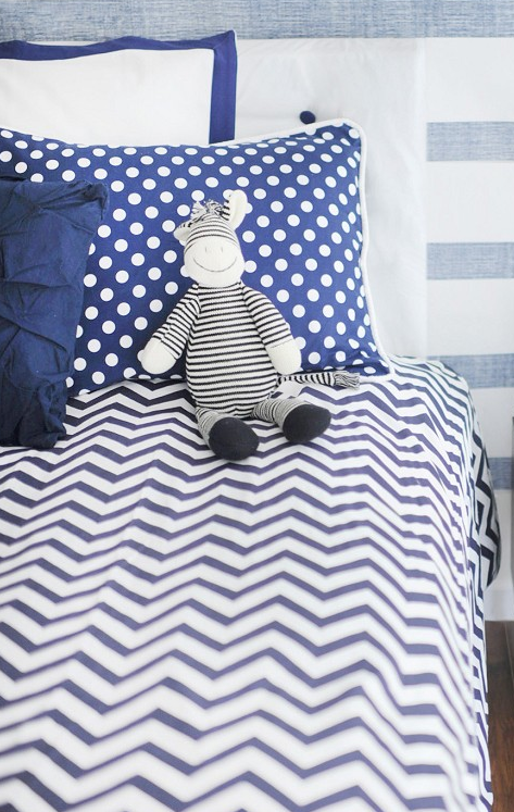 Mets Blue Chevron Duvet and Polka Dot