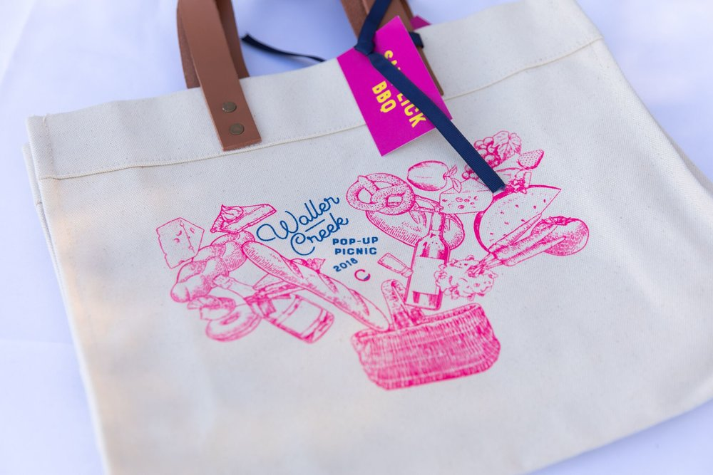 waller creek picnic tote bag