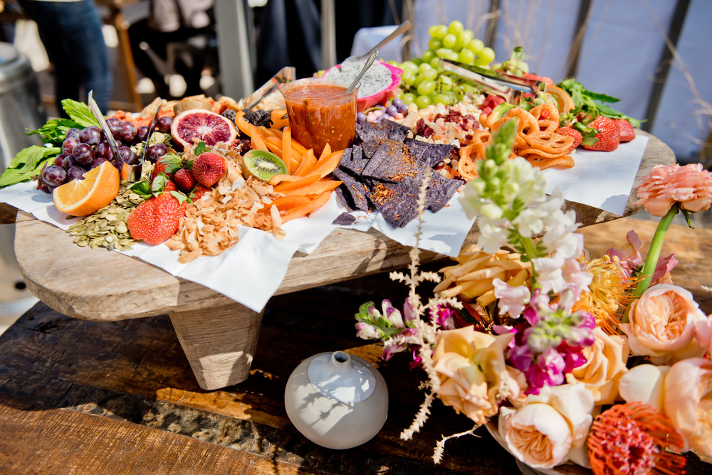 colorful appetizer spread board