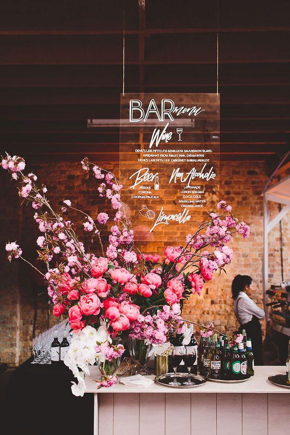 acrylic bar menu