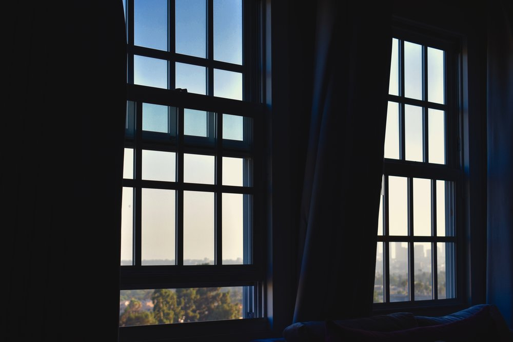 The room windows at the Hollywood Roosevelt (photo by Meghan Ianiro)