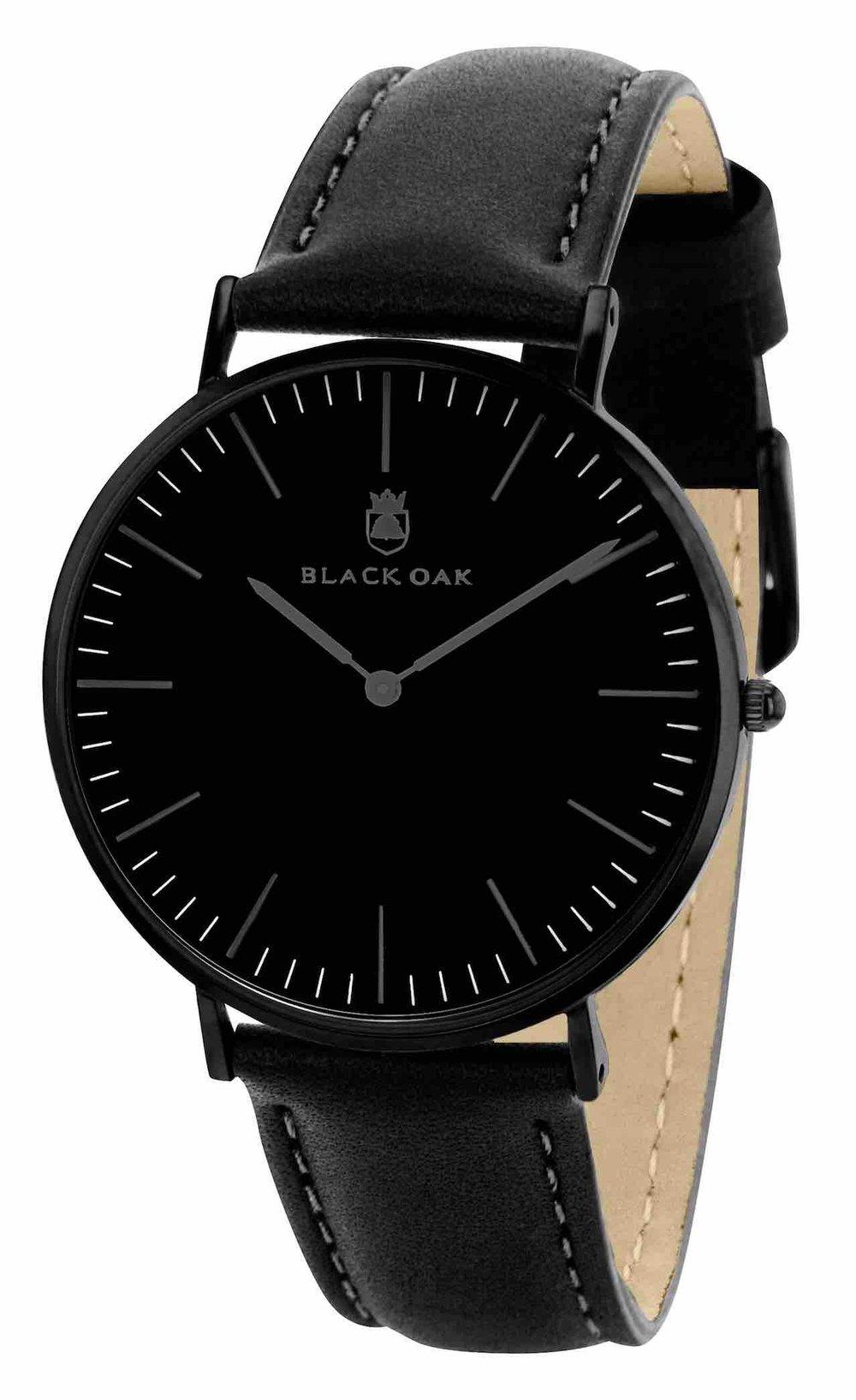 71d24d725e1aa Montre Homme Black Oak - Bracelet cuir tous noir   Montre Homme et ...