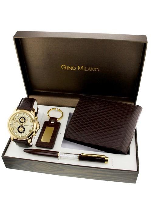 Gino Milano Montre Homme - Coffret avec porte clé et portefeuille homme  marron 32e70d9e2b8