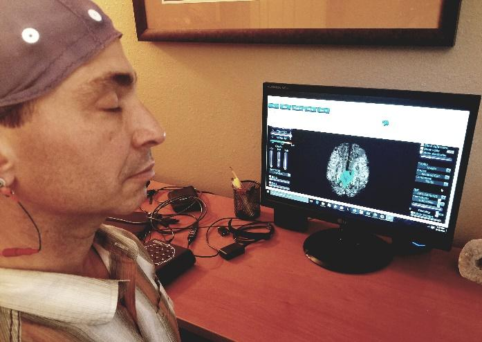 An EEG NeuroMeditation session.
