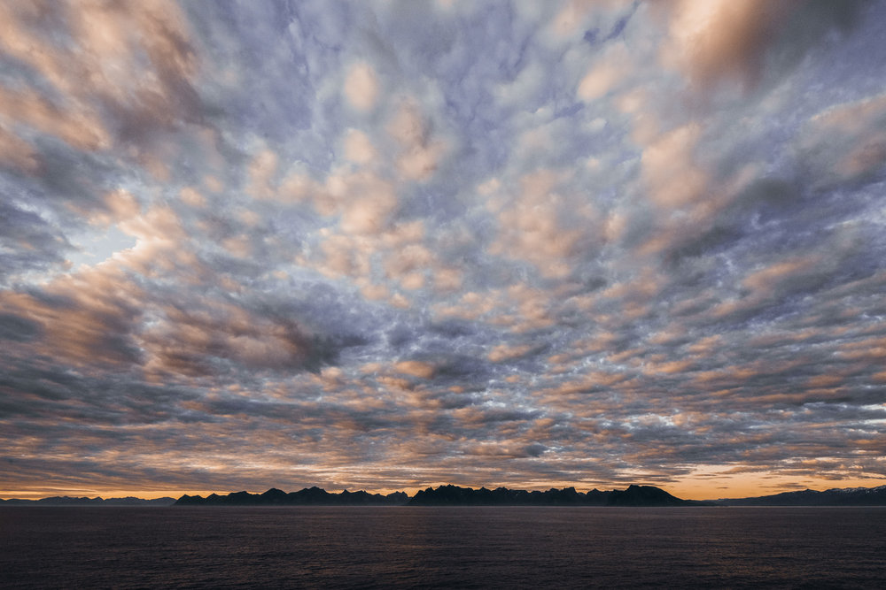 The other side of the ship away from the midnight sun had some even more amazing clouds going on at 3 am..