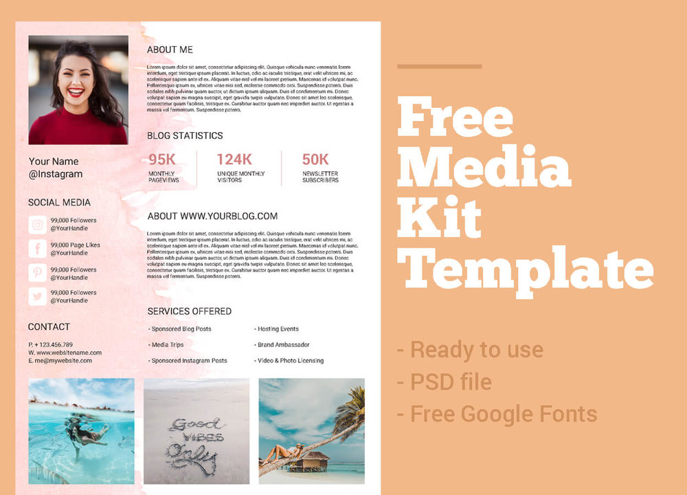 * This media kit template is created for Adobe Photoshop. To be able to edit the fonts inside the file  download this free font by Google Fonts .
