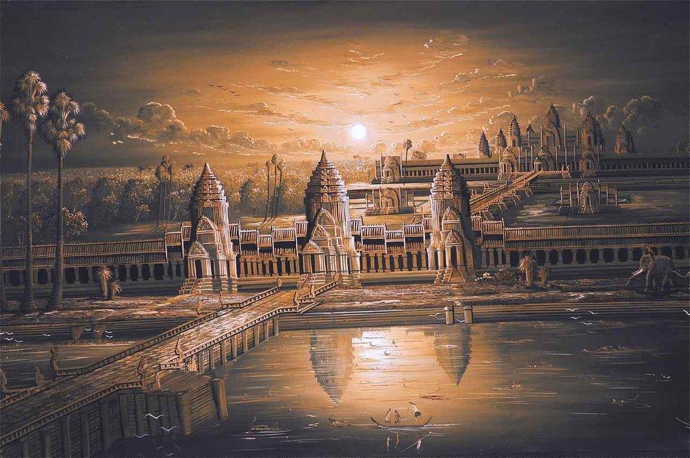 Peinture du monastère d'Angkor Wat