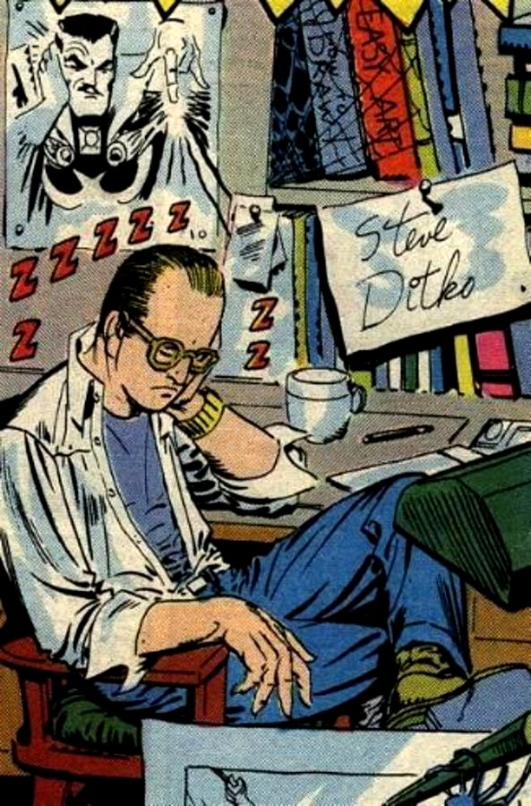 Steve Ditko in a self-portrait from the 1960s at Marvel.