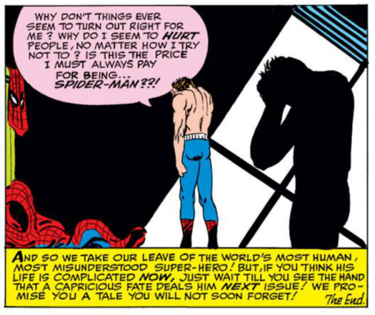 "Ditko's craft on Spider-Man focused on the pathos and despair that could come from being a hero, while Stan Lee would use his own bombastic style to ""enhance"" the story. This split personality only made the comic more memorable.  (from Amazing Spider-Man #17)"