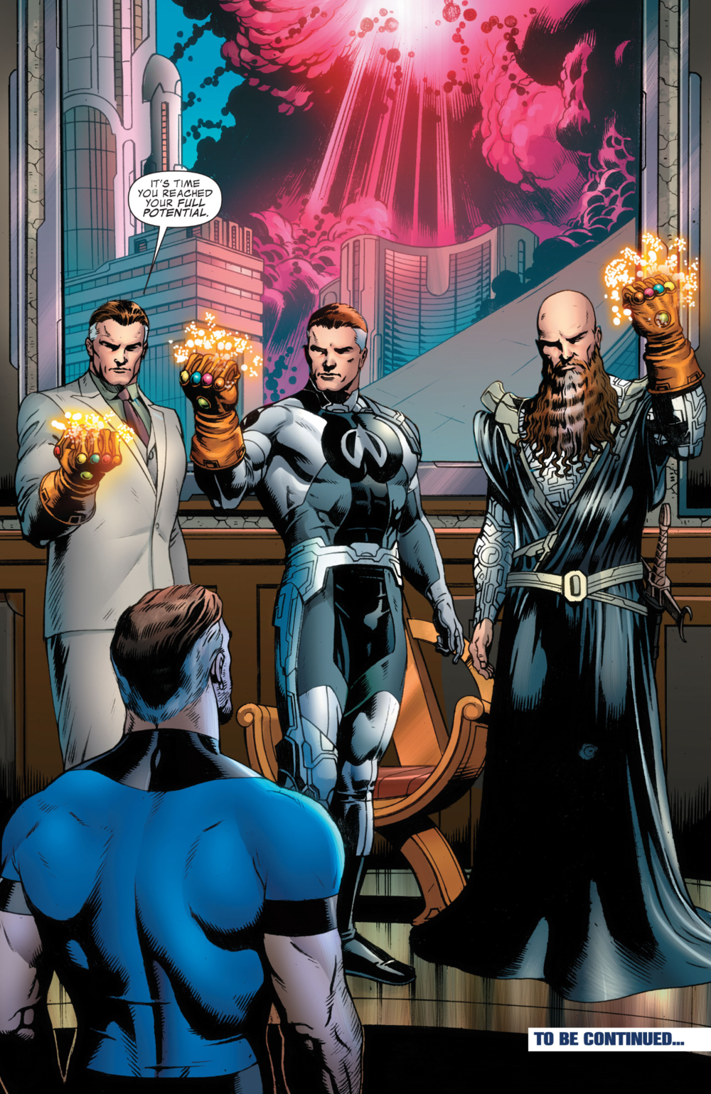 Fantastic Four 570 Three Reeds with Infinity Gauntlets.png